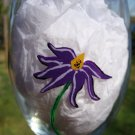 Purple Flower Hand Painted Wine Glass