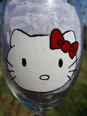 Hello Kitty Hand Painted Wine Glass