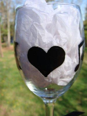 I Love Music Heart Music Note Hand Painted Wine Glass