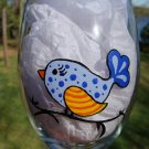 Blue Bird Hand Painted Wine Glass