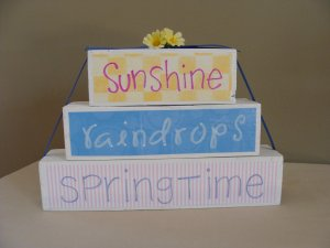 Sunshine Raindrops Springtime Wood Stackers