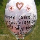 Chocolate & Wine Hand Painted Wine Glass