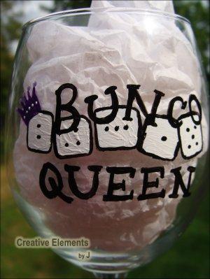 Bunco Queen II Hand Painted Wine Glass