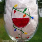 """Lit"" Christmas Lights Hand Painted Wine Glass"