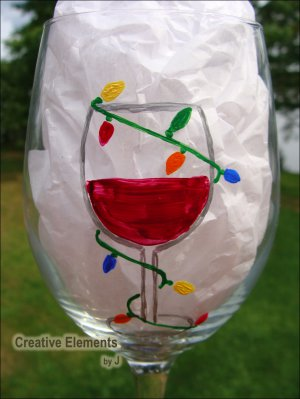 """Lit"" Christmas Lights Hand Painted Wine Glass"