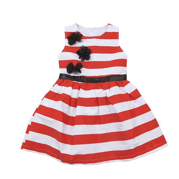 Size 110 - Girls Summer Flower Stripes Dress
