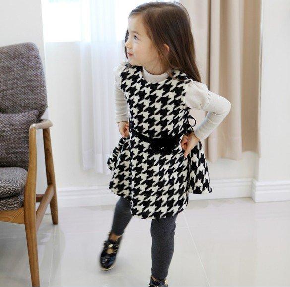 Size 120 Black - Girls' Long Sleeve Dress