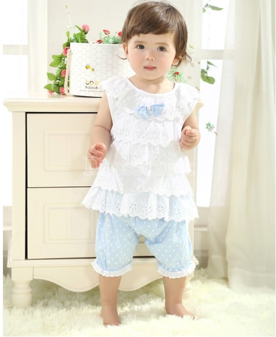Size 95 Blue - Infant Girl's Suit - Top + Bottom
