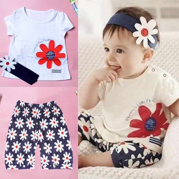 Size 90 - Baby Girl 3 pcs Outfit - T Shirt + Headband + Short Pants
