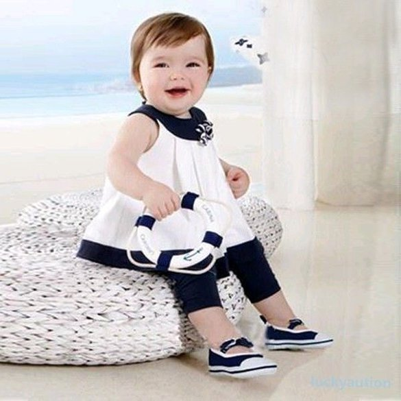 Size 95 - Baby Girls Summer Flowers 2Pcs Set Outfit - Shirts Tops + Pants