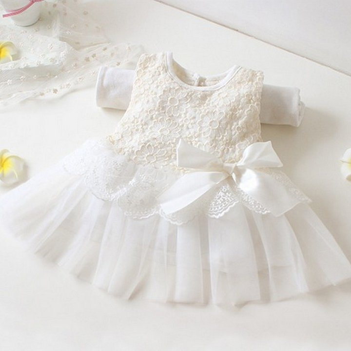 Size 90 White - Girls' Lace Tulle Flower Princess Dress