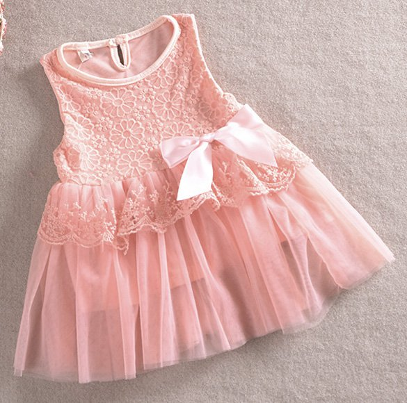 Size 110 Pink - Girls' Lace Tulle Flower Princess Dress