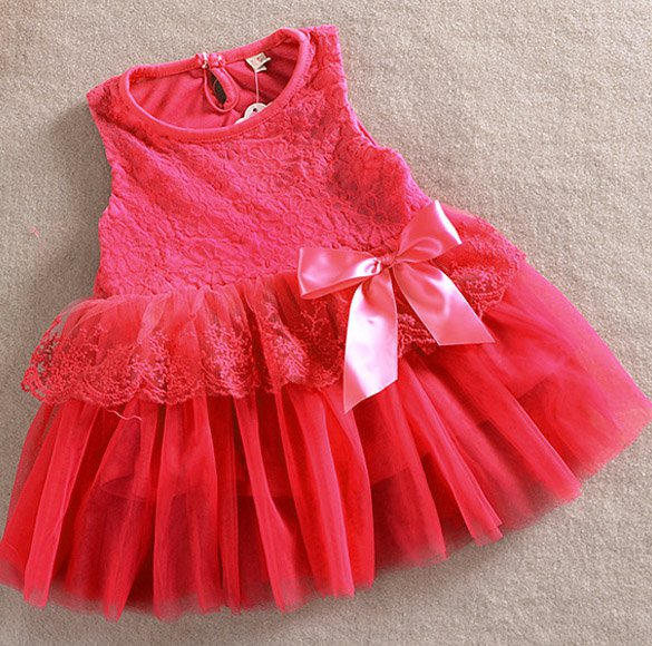 Size 100 Red - Girls' Lace Tulle Flower Princess Dress