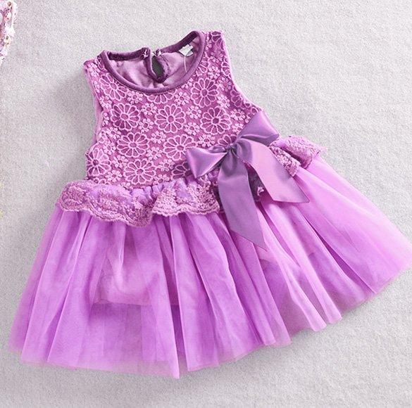 Size 120 Purple - Girls' Lace Tulle Flower Princess Dress