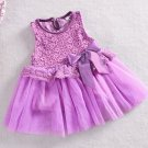 Size 120 Purple - Girls' Lace Tulle Flower Princess Dress