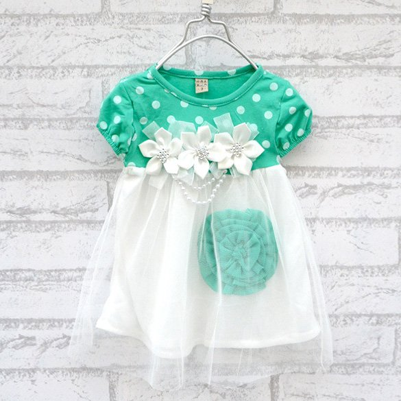Size 90 Green - Princess Flower Bubble Dress