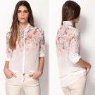 Size Asian L (US M(8-10) UK 10 AU 12) - Women's Shirt Summer Flowers Print Chiffon Blouse