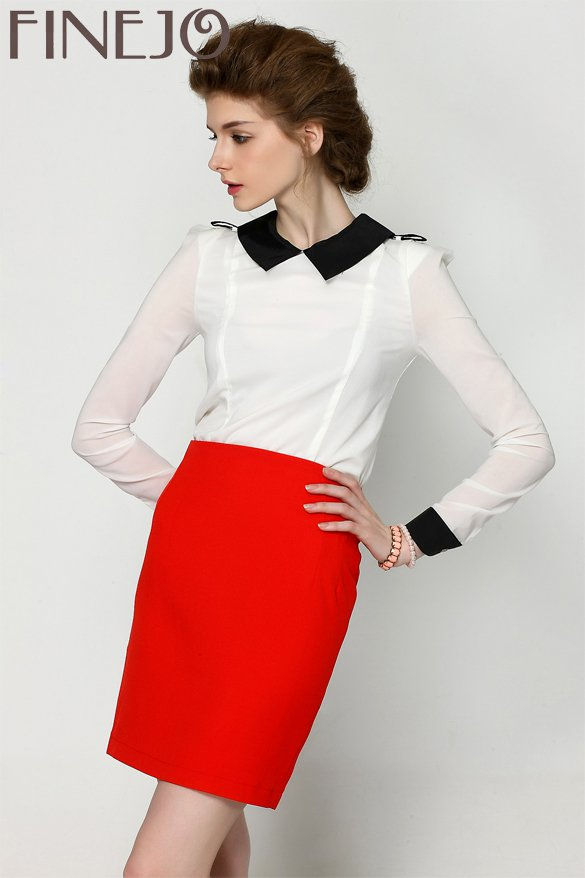 Size Asian S (US S(2) ,UK 2, AU 4) - FINEJO Elegant Women's Top Long Sleeve White Chiffon Blouse