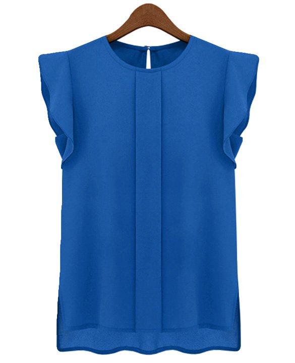 Size Asian XL (US L(12) ,UK 14, AU 16) Blue - Candy Color Women's Chiffon Blouse