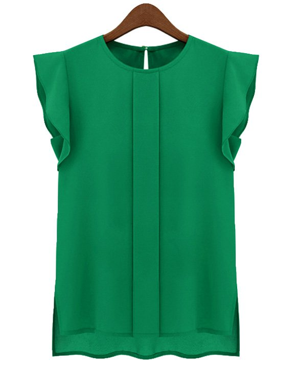 Size Asian L (US M(8-10) ,UK 10, AU 12) Green - Candy Color Women's Chiffon Blouse
