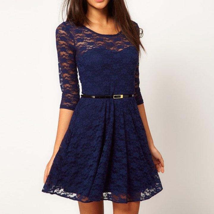 Size Asian S (US S(2) ,UK 2, AU 4) - Ladies Round Neck Lace Dress With Belt