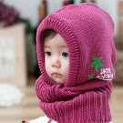 Rose Pink - New Korean Style Cute Children Stretchy Warm Winter Hat Beanie Collar Cap