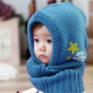 Blue - New Korean Style Cute Children Stretchy Warm Winter Hat Beanie Collar Cap