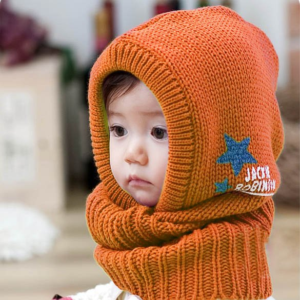 Orange color - New Korean Style Cute Children Stretchy Warm Winter Hat Beanie Collar Cap