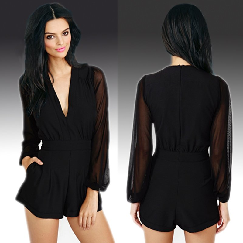 Size Asian M (US S(4) ,UK 6, AU 8) - Women Deep V Neck Long Sleeve Romper Shorts Jumpsuit