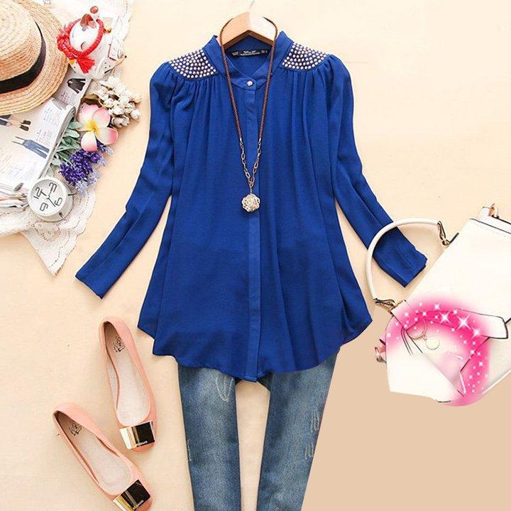 Size Asian S (US S(2) ,UK 2, AU 4) - Women's Long Sleeve Blouse.