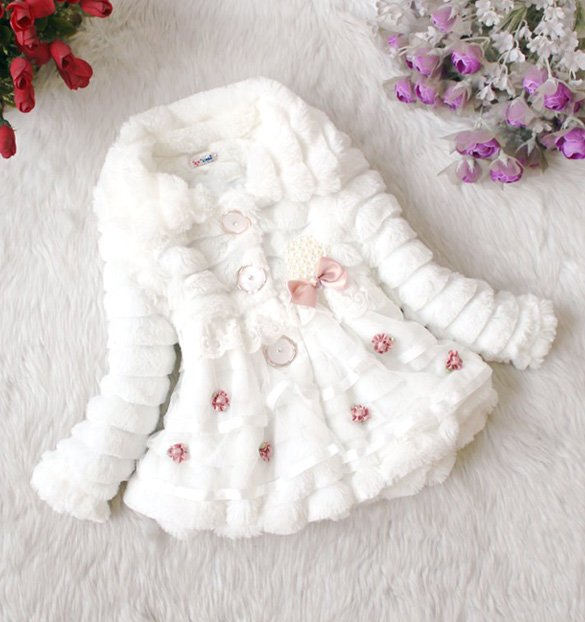 Size 14 White - Girls Junoesque Baby Faux Fur Coat