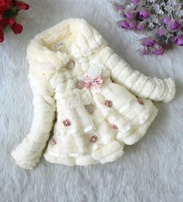 Size 12 Beige - Girls Junoesque Baby Faux Fur Coat