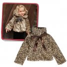 120cm - Girls Kids Princess Leopard Faux Fur Capelet Cape Coat With Ribbon
