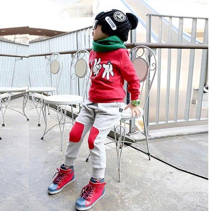 Size 120 Red - 2Pcs Boys Winter Shirt + Pants