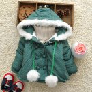 Size 90 Green - Fashion Cute Girls Hooded Jacket
