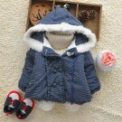 Size 90 Blue - Fashion Cute Girls Hooded Jacket