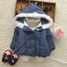 Size 110 Blue - Fashion Cute Girls Hooded Jacket