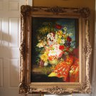 Large Leon Franks Floral with ornate hand carved frame - Sale