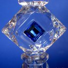 Retired PARTYLITE Lead Crystal Blue Jeweled Prism Taper Holder Pair