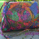 Abstract Shimmery Multi-Colored Jacquard Crossbody Handbag Purse