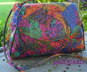 Abstract Shimmery Multi-Colored Jacquard Crossbody Handbag Purse