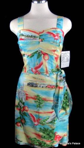 Paradise Found Tropical Hawaiian �Florida� Wrap Smocked Sun Dress Size S