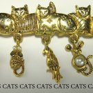 Signed AJC Cats Cat Bar Pin with Dangling Charms