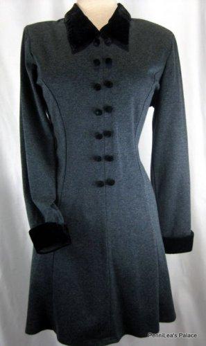 Velvet Trimmed Vintage Inspired Charcoal Gray Dress-Size 11