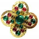 Vintage Green, Gold and Red Cabochon Rhinestone Gold Tone Hammered Pin Brooch