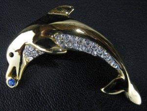 Rhinestone Gold Tone Dolphin Figural Pin/Brooch