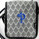 "Initials Inc. Canvas ""Flapper"" Crossbody Purse in Damask-Initial ""P"""