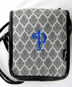 Initials Inc. Canvas �Flapper� Crossbody Purse in Damask-Initial �P�