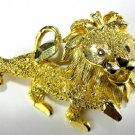 Prancing Gold Tone Lion with Red Rhinestone Eyes Pin