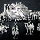 Vintage Signed J.J. Noah's Ark Animal Charm Pin/Brooch